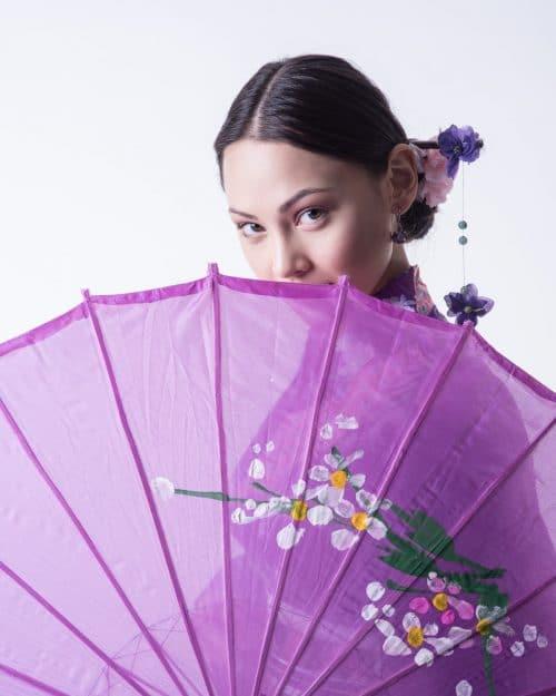 Fashion-Foto mit Yukata und schirm